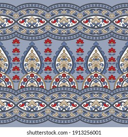 geometric traditional paisley pattern with border on grey background