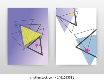 Geometric traingles with yellow, blue, magenta design for annual report, brochure, flyer, leaflet, poster. Purple and white background. Abstract A4 brochure template. Flyer vector illustration.