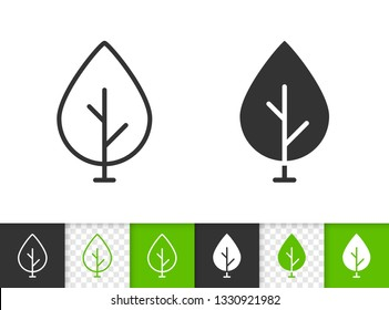 Geometric Tree black linear and silhouette icons. Thin line sign of sapling. Birch outline pictogram isolated on white, green, transparent background. Vector Icon shape. Abstract Plant simple symbol