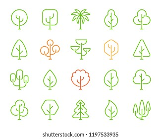 Geometric Trees thin line icons set. Outline monochrome sign of garden nature. Forest linear collection, cypress, birch, palm, pine. Simple contour plant symbol. Vector Illustration isolated on white