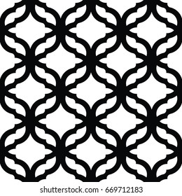 Geometric trellis pattern. Black and white seamless background. Screen print vector texture. Website textured pattern. Oriental seamless background. Vector seamless pattern for interior design
