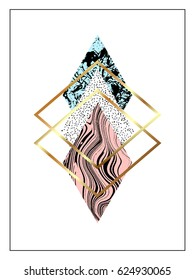 Geometric trendy background with gold and hand drawn textured rhombuses.