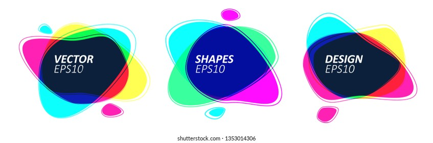 Geometric Trendy Color Multiply Bubble Badges Set in Minimal Design. Eps10 Vector Illustration.