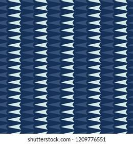 Geometric Triangle Arrrow Stripes Seamless Vector Pattern. Hand Drawn Indigo Blue Trendy Texture for Elegant Textile Print, Japan Decor, Asian Backdrops, Packaging  or Oriental Kimono Fashion Fabric.