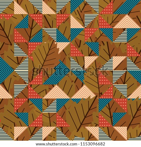 geometric triangle autumn leaves pattern vintage stock vector