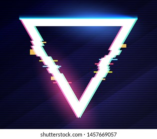 Geometric triangle banner with glitch effect and shining lights.
