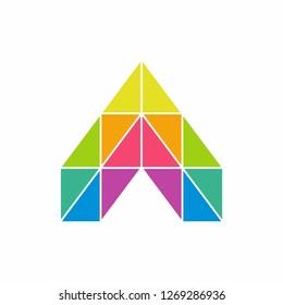 Geometric Triangle Letter A Business Company Vector Logo Design