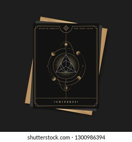 Geometric triangle mystic symbol fortune card vector