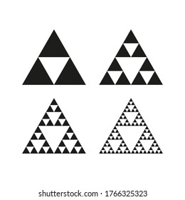 Geometric triangle symbol. Sierpinski triangle. Infinite fractal shape