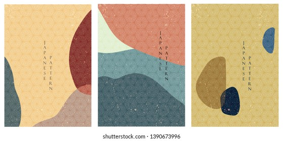 Geometric triangle template vector. Japanese pattern background.