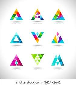 Geometric Triangles Logo Design. Creative Vector logo with triangle creative concept.