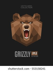 Geometric Triangular angry Grizzly Bear roaring head logo icon. Low Polygonal Animal Symbol Collection. Triangular angry Bear Isolated vector