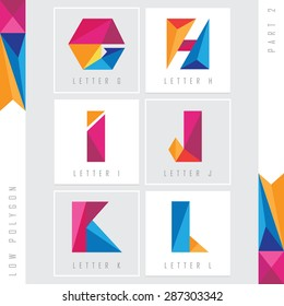 geometric triangular low polygon alphabet letters g, h, i, j, k and l. Colorful abstract logo elements