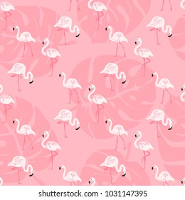Geometric tropical print. Seamless vector pattern with pink flamingos and flowers. Trendy textile design for shirts, dresses, bags and carpets. Hawaiian collection. On colorful background.