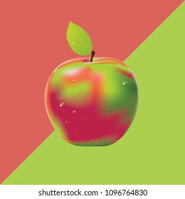 Geometric two colored background with apple, food design.