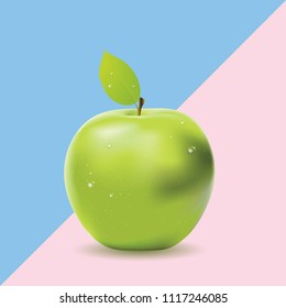 Geometric two colored background with green apple, food design.
