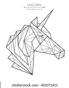 Geometric unicorn head. Tattoo, t-shirt design