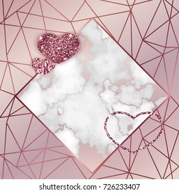 Geometric valentine day card, marble texture, background in trendy minimalistic style, heart silhouette, granite, gold rose glitter, frame, vector fashion wallpaper, invitation