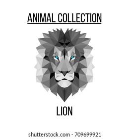 Geometric vector animal blue eyes lion head background