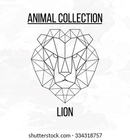 Geometric vector animal lion head background