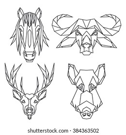 Geometric vector animal set of bull, deer, horse and wild hog vector heads drawn in line or triangle polygonal style, suitable for modern tattoo templates, icons or logo elements.