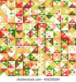 geometric vector background, seamless pattern with triangle glass effect in green, red and yellow shades