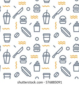 Geometric Vector fast food pattern with colors dark grey and orange. Form a triangle, a line, a circle. Hipster fashion. Memphis style.