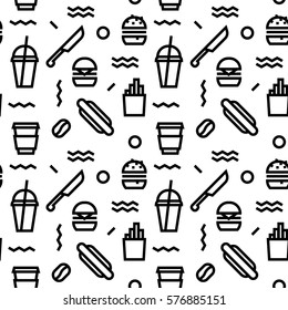 Geometric Vector fast food pattern with black and white. Form a triangle, a line, a circle. Hipster fashion. Memphis style.