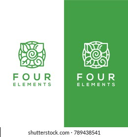 geometric vector, four elements logo template