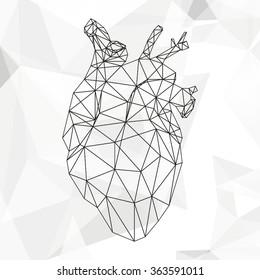 Geometric vector heart isolated on white background vintage design element illustration