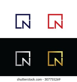 Geometric vector logo with letter N placed in square