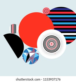 Geometric vector multicolored background with round elements