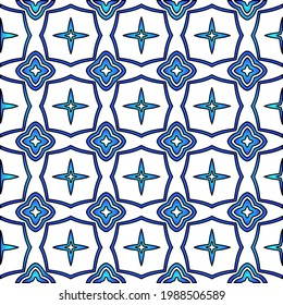 Geometric vector pattern with azure and blue gradient. simple ornament for wallpapers and backgrounds.