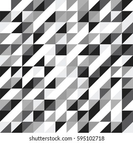 Geometric vector pattern with grayscale triangles. Seamless abstract background