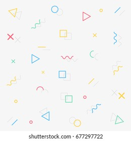 Geometric vector pattern, memphis style pattern, trendy vector background with various objects