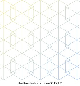 Geometric Vector Pattern. Repeating linear hexagon . gradient changing color. pattern background