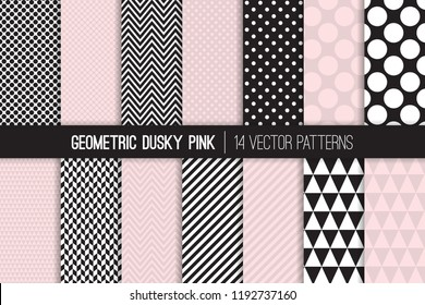 Geometric Vector Patterns in Dusky Pink and Black and White. Chevron, Polka Dots, Stripes, Triangles and Herringbone Prints. Vector Pattern Tile Swatches Included.