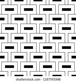 Geometric vector. Rectangles background. Blocks ornament. Checks wallpaper. Mosaic motif. Digital paper, textile print, web designing, abstract. Quadrangles backdrop. Seamless surface pattern design.
