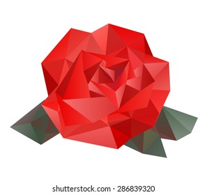 Geometric vector rose made from triangles on white background. Isolated rose.