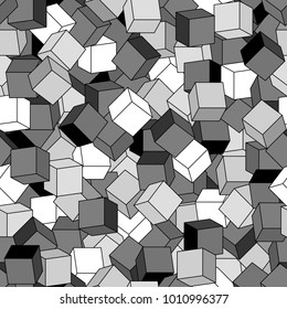 Geometric vector seamless pattern of cubes