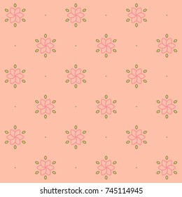 Geometric Vector Seamless Pattern. Cute flowers.