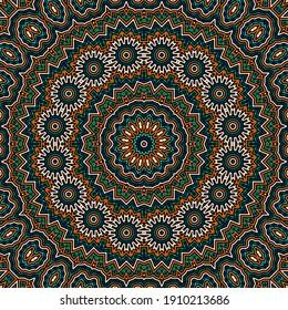 Geometric vector seamless pattern. Decorative endless symmetrical motif. Wall mandala swatch. Geometric texture seamless background design. Arabesque graphic pattern.