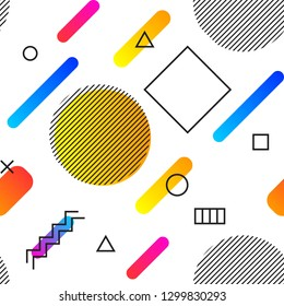 Geometric vector seamless pattern. Hipster fashion Memphis style. Seamless pattern in 80s 90s style with simple geometric elements and shapes. Abstract colorful background with beautiful gradients.