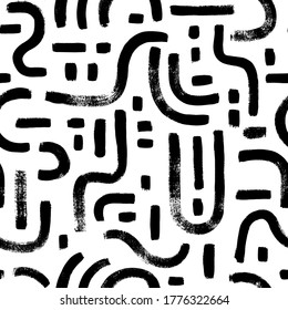 Geometric vector seamless pattern, labyrinth and mosaic motives. Memphis style geometric ornament. Grunge circular brush strokes, dashes. Hand drawn ink illustration. Hipster black paint background.