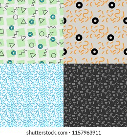 Geometric Vector seamless pattern memphis. Set of 4. Vector for textures, backgrounds