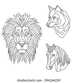 38f7cea86 Geometric vector set with animal heads of lion, wolf and horse, drawn in  line