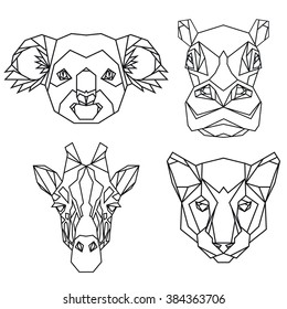 Geometric vector set of koala, hippo, puma, giraffe vector animal heads drawn in line or triangle style, suitable for modern tattoo templates, icons or logo elements
