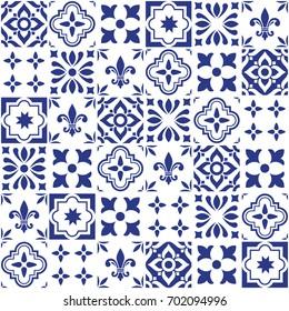 Geometric vector tile design, Portuguese or Spnish seamless navy blue tiles, Azulejos pattern