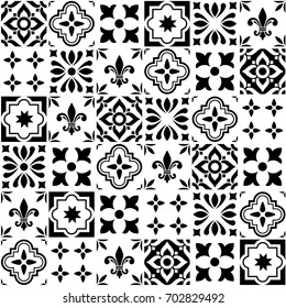 Geometric vector tile design, Portuguese or Spanish seamless black and white tiles, Azulejos pattern