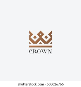Geometric Vintage Crown abstract Logo design vector template. Vintage Crown Logo Royal King Queen symbol Logotype concept icon.
